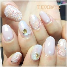 """https://www.instagram.com/chihoasami_nail/ - I love the marbled look of these! I'm not really a fan of 3D nail art elements to be honest, but I can appreciate the artistry of the stones in this """"stone marble"""" mani, it's gorgeous!"""