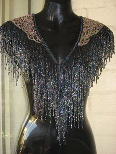 SOLD...Vintage Stunning  Sheer  Black Irradecent Beaded Sequined Rhinestone Long Fringe  Art Deco Flapper Capelet Shrug Wrap Collar