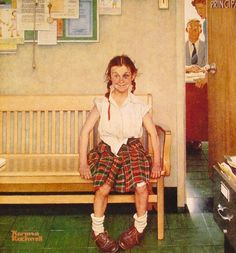 Girl with Black Eye by Norman Rockwell #art this reminds me of my grandparents home when I was young.