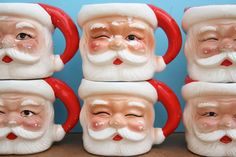 """Santa Mugs ...we had these! They sat on the mantle over our stockings.  In fact they are in the picture on my """"Dear Babyboomer"""" blog- """"Christmas Eve 1956"""" http://dearbabyboomer.blogspot.com/2007/12/christmas-eve-1956.html"""