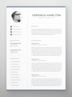 Clean, modern and professional resume design. Easy to use and fully customizable, including headings or colors. Includes resume, cover letter and references templates in US Letter and A4 formats. Available for Microsoft Word and Pages for Mac. One Page Resume Template, Modern Resume Template, Creative Resume Templates, Creative Cv, Creative Design, Cover Letter For Resume, Cover Letter Template, Letter Templates, Resume References