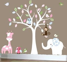 Children's Jungle wall decal - nursery white tree wall decal - patterned vinyl wall art. $129.00, via Etsy.