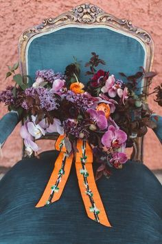 Purple wedding bouqu - Florist One  Purple wedding bouquet with an unexpected pop of orange | Image by Alicia Lucia Photography Dream Designs Florist  http://47flowers.info/purple-wedding-bouqu/