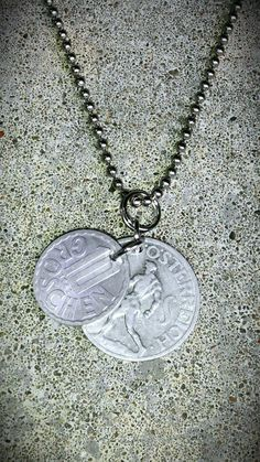 NECKLACE Vintage GERMANY OSTERREICH Foreign 2 coin by bleustuff1, $7.99