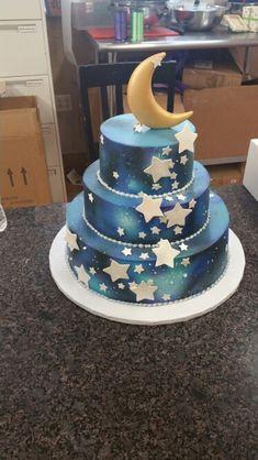 Galaxy moon stars birthday cake