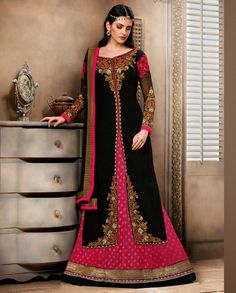 Pink and black jacket style suit with golden border 1. Pink and black poly dupion suit2. Comes with matching bottom and dupatta3. Can be stitched upto size 42 inches