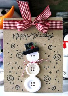 Snowman Handmade DIY Christmas Card