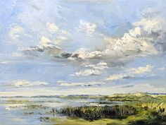 Recente zee en strand schilderijen met hoge luchten van plein air schilder Sonja Brussen