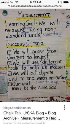 measuring with nonstandard units - Anchor Chart Measurement Kindergarten, Measurement Activities, Math Measurement, Kindergarten Math, Teaching Math, Math Activities, Teaching Ideas, Preschool, Math Charts