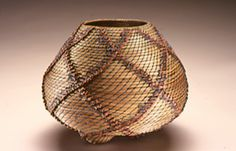 """Clay Burnette created this pine needle basket which he calls """"Tribal"""". Pine Needle Crafts, Pine Needle Baskets, Pine Needles, Weaving Art, Gourd Art, Nature Crafts, Gourds, Pine Cones, Basket Weaving"""