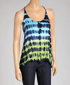 Take a look at the Navy & Turquoise Stripe Racerback Tank - Women on #zulily today!