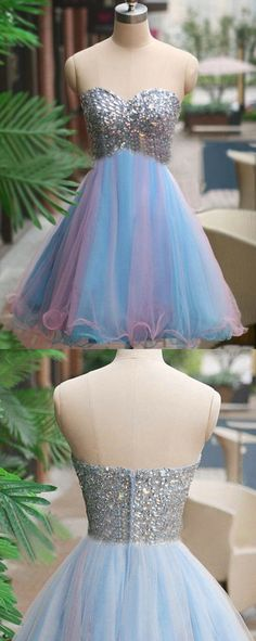 Tulle homecoming dress, rhinestone homecoming dress, short homecoming dresses, 2016 homecoming dresses, prom dresses, 16110
