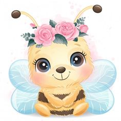 Cute Little Bee Portrait With Watercolor Effect Baby Animal Drawings, Cute Drawings, Cute Images, Cute Pictures, Baby Animals, Cute Animals, Cute Animal Illustration, Cute Bee, Watercolor Effects