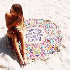 Round Fringed Summer Beach Towel . Sunshine Makes Me Happy .