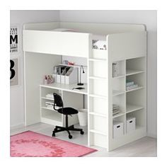 STUVA Loft bed combo w 2 shlvs/3 shlvs, white - white - IKEA
