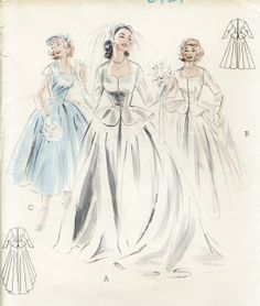 Vintage Butterick 6781 Misses Wedding Dress with by RomasMaison, $75.00