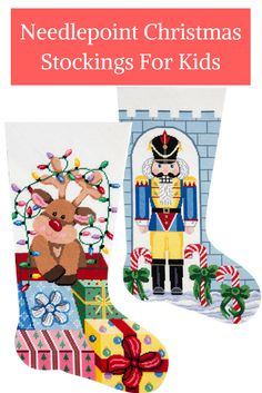 Needlepoint Christmas stocking kits from Jolly Red make easy ...