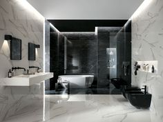 Roma Classic tiles are part of a new, luminous collection of marble-effect tiles by FAP Ceramiche. Find out more about our classic tiles. White Marble Bathrooms, Modern Bathroom Tile, White Vanity Bathroom, Contemporary Bathrooms, Bathroom Furniture Design, Bathroom Design Luxury, Interior Design Classes, Marble Effect, Dream Bathrooms