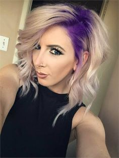 Stylish Hair Color Designs: Purple Hair Ideas to Try Gorg Purple To Platinum Melt - Medium Wavy Hairstyle 2015 - Ideas Big Ideas may refer to: Hair Color Purple, Hair Colors, Blonde Hair Purple Roots, Plum Hair, Blonde Color, Blue Ombre, Dark Purple, Curly Blonde, Hair Colour Design
