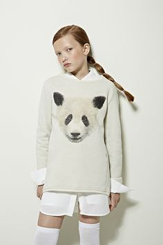 La Petite Winter Print Issue 2014 Oversized Sweatshirt with ilustrations and oversized White Blouse and Long over the knee Socks
