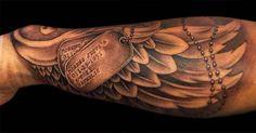 Dark Ink Angel Wing Tattoo On Sleeve
