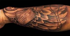Dark Ink Angel Wing Tattoo On Sleeve
