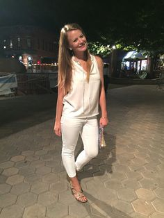 Sweet Bananie [9.3.15] white on white: cream blouse, white pants, metallic wedges + printed  Lilly Pulitzer clutch