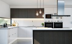 Kitchen Inspiration Gallery | Bunnings Warehouse. Waterfall benchtop, and a mix of finishes