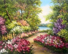 Nature Paintings, Beautiful Paintings, Beautiful Landscapes, Beautiful Gardens, Watercolor Paintings, Spring Painting, Garden Painting, Garden Art, Landscape Art