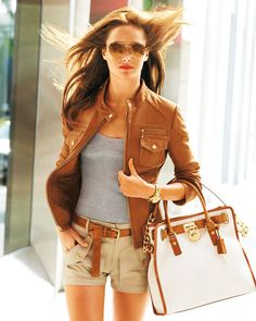 Michael Kors Leather Motorcycle Jacket, Lightweight Ribbed Tank, Stretch Twill Shorts, & Large Hamilton Canvas Tote