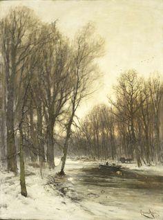 Gezicht op een besneeuwd bos in de namiddag, Louis Apol, ca. 1880 - ca. 1936