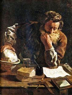 Archimedes (MÖ 287 - MÖ 212), Syracuse'de doğmuştur. Evrenin büyüklüğüne dair yazdığı eseri 'Kum Tanelerinin Sayısına Dair'dir. Uzaya ne kadar kum tanesinin sığacağını hesaplamaya çalışmıştır. Bir hamamda yıkanırken bulduğu iddia edilen suyun kaldırma kuvveti bilime en çok bilinen katkısıdır.