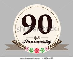 90 years anniversary logo with oval shape, flower, and ribbon. anniversary for birthday, wedding, celebration, and party