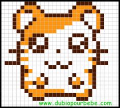 Hamtaro modèle parle hama Fuse Beads, Perler Beads, Pixel Art Super Heros, Pixel Art Minecraft, Modele Pixel Art, Pixel Drawing, Pix Art, Chart Design, Alpha Patterns