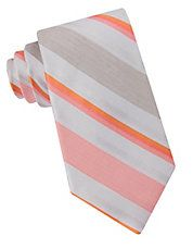 Calvin Klein Striped Silk and Linen Tie Men's Coral Light Peach, Light Orange, Color Palate, Tie And Pocket Square, Tie Colors, Lord & Taylor, Color Show, Calvin Klein, Silk