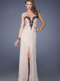 A-line Black Lace Top Chifffon Formal Dress/ Prom Dress Evening Dress La Femme 19819