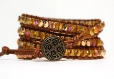 Wrap Bracelet  Amber Crystals on Light Brown by JPAdornments