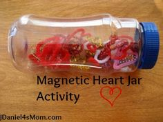 Science Activity :Magnetic Heart Jar- Heart shapes objects (bent paperclips and heart shaped pipe cleaners) and a magnet are hours of fun. Science Valentines, Valentine Theme, Science Activities For Kids, Valentines Day Activities, Speech Therapy Activities, Preschool Science, Toddler Activities, Preschool Activities, Kindergarten Inquiry