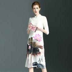 2016 Fashion Ladies Classical Flower Print Soft Loose Plus Size Silk- Like Stand Collar Cheongsam Style Dress X6Y34