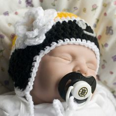 5421cc3dcd2 Baby Girl Hockey Hat with Flower   Boston Bruins NHL Logo Pacifier