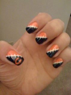 Football 2011: Nail Art - Chicago Bears, Orange, Blue