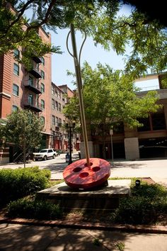 Needle threading a button sculpture in the Garment District of Kansas City, MO. In a nice little park near the Garment District Museum. When I was a GS leader, took my troop to see this, and do the walking tour of the Kansas City Garment District with former designer, Ann Brownfield :)