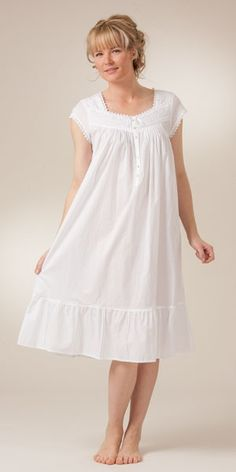 I'd love this, but shorter, mid-upper thigh length? Cap Sleeve Mid-Length White Cotton Nightgowns by Eileen West Night Gown Dress, Cotton Nighties, White Nightgown, Nightgown Pattern, Night Dress For Women, Nightgowns For Women, Nightwear, Dress Patterns, Designer Dresses