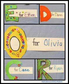 """The Bridge to Reading is Through a Child's Name."" RoundUP of Name Projects. Name activities. Name recognition. Anchor Charts for Names. Word Walls with Names. Name as Art. Kindergarten Names, Preschool Names, Kindergarten Literacy, Early Literacy, Preschool Classroom, Classroom Activities, Classroom Ideas, Name Writing Activities, First Day Activities"