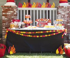 cutest firefighter party I've seen. fire-truck-theme-dessert-table