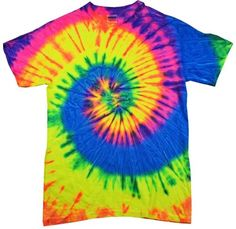 Neon Rainbow Tie Dye T-Shirts Size Youth to Adult XL. Check Description