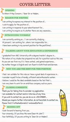 How to Write a Cover Letter ! Resumes may get you a job, but your cover letter opens the door, use the opportunity to address the employer personally if possible. This lesson will support you some tips to write a successful cover letter. Writing A Cover Letter, Writing Words, Cover Letter For Resume, Essay Writing, Cover Letter Tips, Teaching Cover Letter, Nursing Cover Letter, Great Cover Letters, Resume Cover Letter Examples
