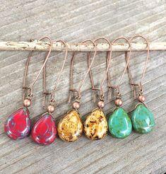 Long Earrings, Boho Earrings, Red Earrings, Yellow Earrings, Turquoise Earrings, Teardrop Earrings, Copper Jewelry, Long Drop Earrings