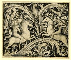 Tournament between man and woman; print made by Master ES (ca. 1450-1467) - Unicorn