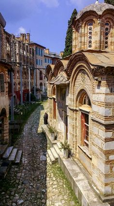 Monastery of Hilandar, Mount Athos, Greece Greece Architecture, Byzantine Architecture, Beautiful Castles, Beautiful Places, Beautiful World, Vacation Places, Vacation Trips, Cityscape Drawing, Gfx Design